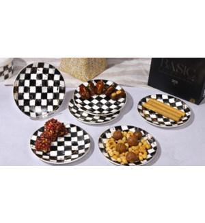Dinner Plate 6pc Set 10.5in Checkered  Bone China