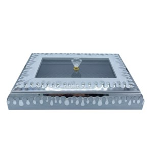 Decorative  Multi Tray With Lid White/Silver 11X11
