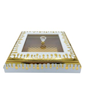 Decorative Multi Tray With Lid Gold/White 13X9