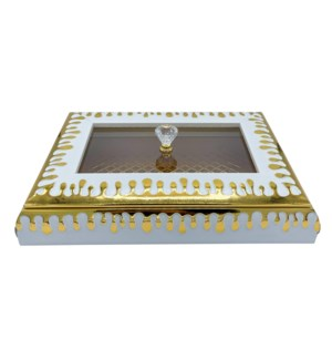 Decorative Multi Tray With Lid Gold/White 11X11