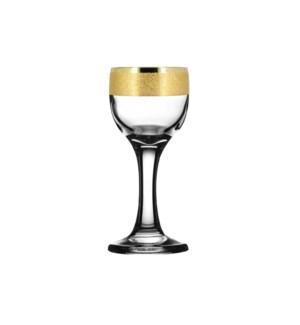 Shot Glass w/Stem - Golden Karat Pattern - 6pc Set