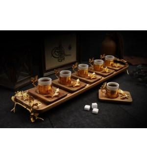 13pcs Coffee Set w/Acacia Rect Saucers & Tray - Antq Gld
