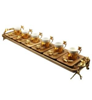 13pcs Coffee Set w/Acacia Rect Saucers & Tray - Gld