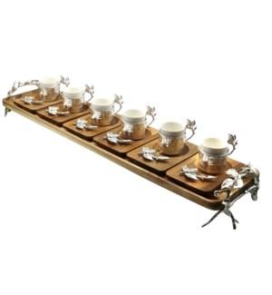 13pcs Coffee Set w/Acacia Rect Saucers & Tray - Slvr