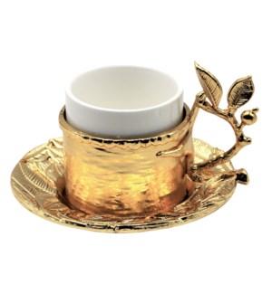 18pc Coffee Set Metal Saucer & Holder - Leaves 80cc - Gld