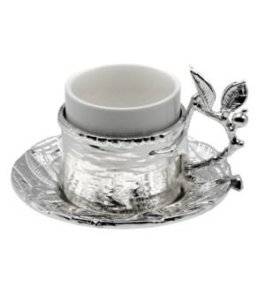 18pc Coffee Set Metal Saucer & Holder - Leaves 80cc -Slvr