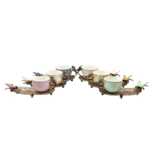 12pcs Coffee Set w/Birds Saucers-Antq Gld