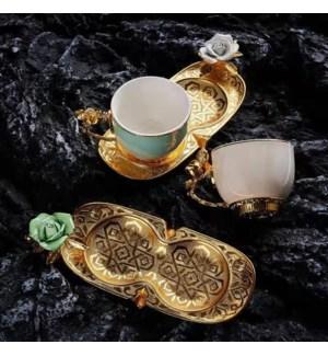 Coffee Set 2pc set  w/Birds  Zinc Saucers 110cc Green and Beige Cups