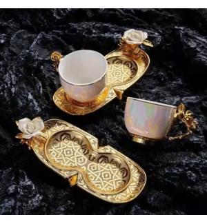 Coffee Set 2pc set  w/Birds  Zinc Saucers 110cc Gold/Pearl Cups