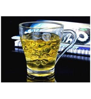 Tea Glass V shape Flower Design 6pc Set 8.5oz