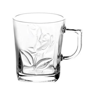 Tea Glass Flower Design 6pc Set 9.5oz