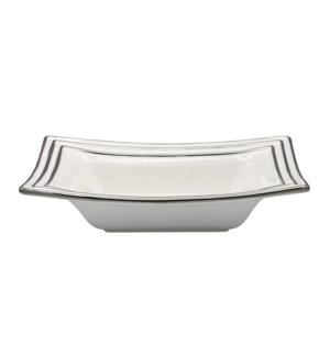 12in Ceramic Bowl - Hand Painted Wt/Slvr