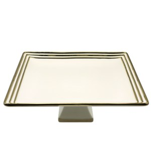 14in Square Ceramic Footed Plate- Hand Painted Bg/Gld