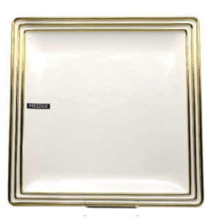 14in Square Ceramic Plate - Hand Painted Bg/Gld