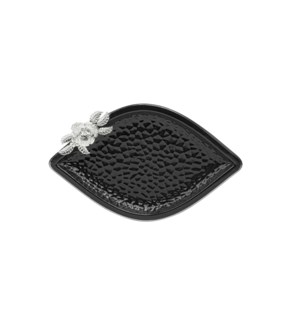 Black-Pebble Porcelain 12in Serving Plate Leaf Shaped-Slvr