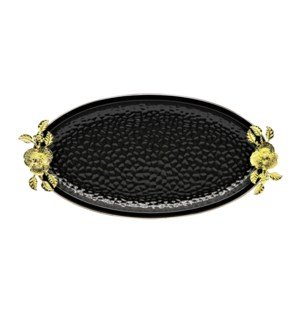 Black-Pebble Porcelain 15.5in Serving Plate Oval Shaped-Gld