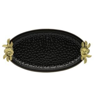 Black-Pebble Porcelain 17.5in Serving Plate Oval Shaped-Gld