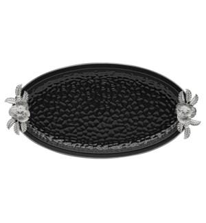 Black-Pebble Porcelain 17.5in Serving Plate Oval Shaped-Slvr
