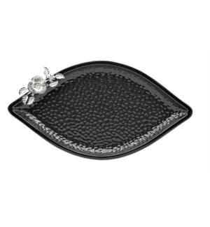 Black-Pebble Porcelain 19in Serving Plate Leaf Shaped-Slvr