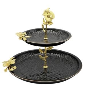 Black-Pebble Porcelain 2-Tier 12in/8in Serving Plates-Gld