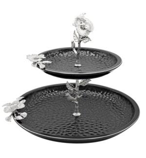 Black-Pebble Porcelain 2-Tier 12in/8in Serving Plates-Slvr