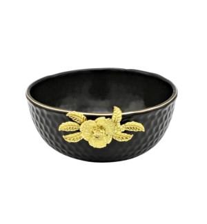 Black-Pebble Porcelain 8in Serving Bowl-Gld