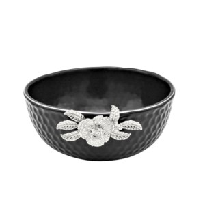 Black-Pebble Porcelain 8in Serving Bowl-Slvr