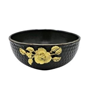 Black-Pebble Porcelain 9.5in Serving Bowl-Gld