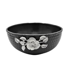 Black-Pebble Porcelain 9.5in Serving Bowl-Slvr