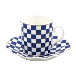 12pc 90cc Coffee Set Blu Checker Design w/Gold Rim