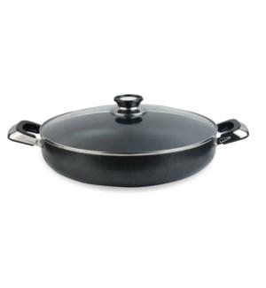 """Medium  Cooking Pot 10.5qt- 14"""" Non-Stick Alum. w/Glass Lid"""