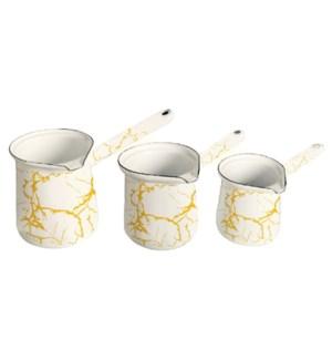 3pc Enamel Coffee Warmer Set Wte Mrbl-300/400/600ml (10/13.5/20oz)