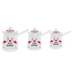 3pc Enamel Coffee Warmer Set Flamingo-300/400/600ml (10/13.5/20oz)