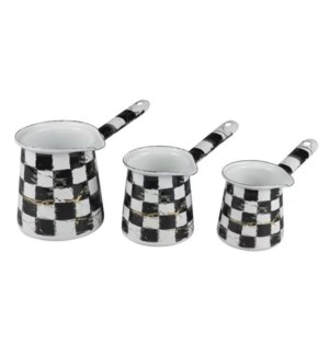 3pc Enamel Coffee Warmer Set Checkered Marble with Gold