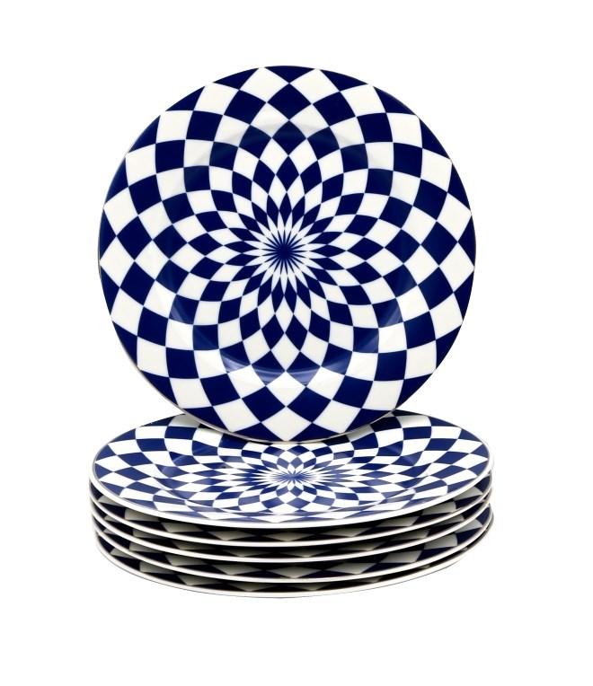 6pc Set 7.5in Dessert Plate/Navy-Blu Diamond Full Gld Hndl-Bone China