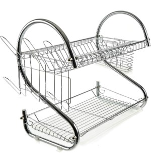Chrome Plated Iron 2-Tier Dish Rack H:22in