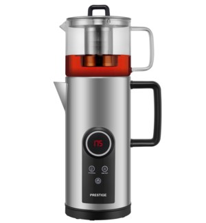 Electric Double Tea Kettle S/S 1.8L with 1L Glass Tea Pot. 1000W Keep Warm and Temperature Switch