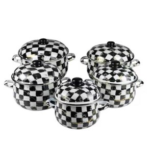 5pc Enamel Pot Set w/Lids Checkered with Gold 18/20/22/24/26cm