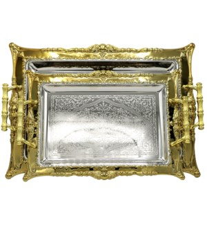 2pc Nickel-Plated Serving Tray - Lacquer Finish L:17x14.5in M:14x10in