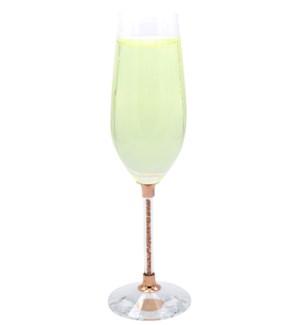 Champagne Crystal Flute w/Rose Gold Stone Filled Stem 6pcs