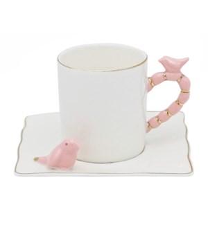 100cc Coffee Cups 12pc Set w/Pink Bird