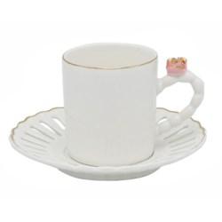 100cc Coffee Cups 12pc Set w/Pink Rose