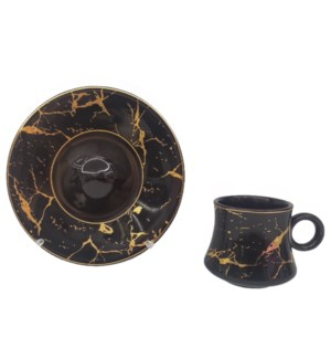 Coffe cup and Saucer 12pc Set 100cc Black Marble