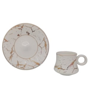 Coffe cup and Saucer 12pc Set 100cc White Marble
