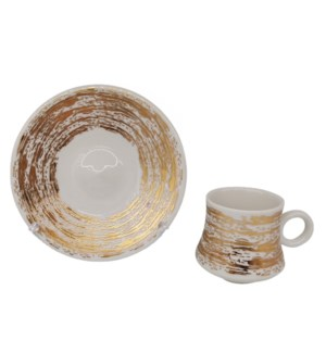 Coffee Cup And Saucer 12pc set 100cc white/Gold Lines infused