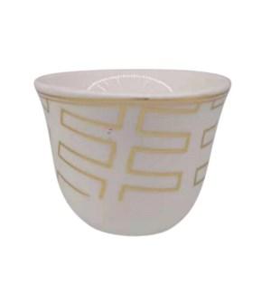 Gawa Cup 12pc Set 80cc White/Gold lines