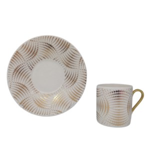 Coffee cup and Saucer 12pc Set 90cc white/Arc Gold Lines