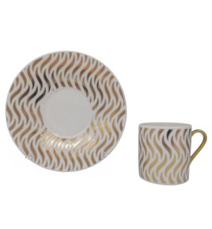 Coffee cup and Saucer 12pc Set 90cc white/Wavy Gold Lines