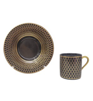 Coffee cup and Saucer 12pc Set 90cc Black/gold honey comb