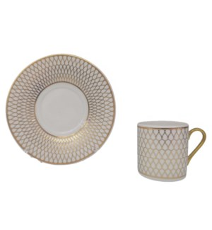 Coffee cup and Saucer 12pc Set 90cc white/gold honey comb